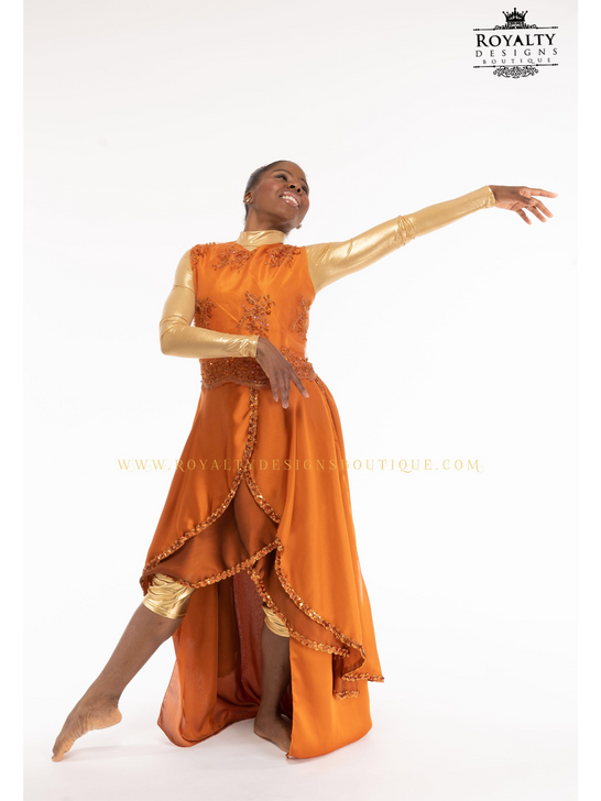 ' REVIVAL FIRE ' Praise Dance orange Garment with elegant lace blouse and 4 layered trimmed chiffon skirt and back skirt attached