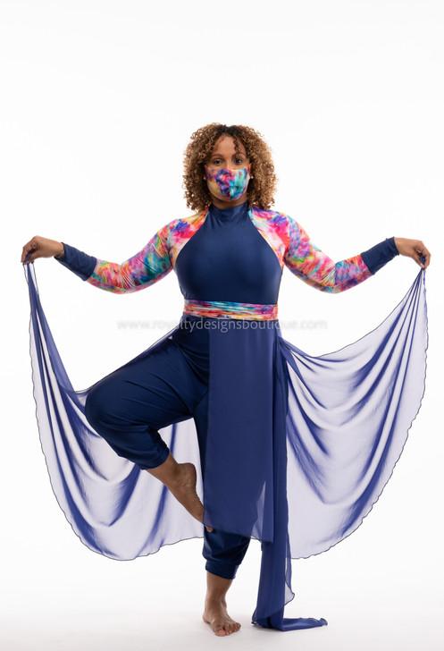 REVIVAL COLLECTION Elegant Overlay Blue Pant & Skirt Romper with belt 2pc. Set