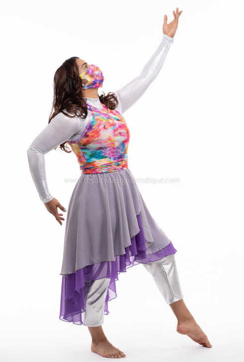 REVIVAL COLLECTION - Revival Collection Asymmetrical halter top Praise Dance grey and purple tunic dress