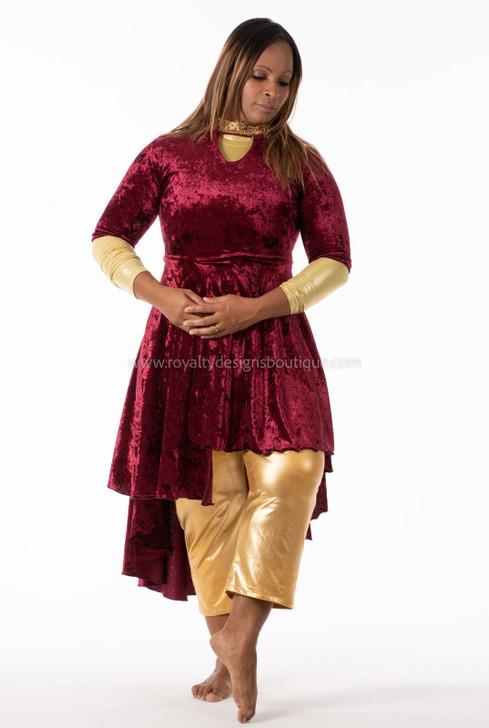 DANCE GARMENT 'MAJESTY' / Burgendy and Gold Dress (Pre-order sale)
