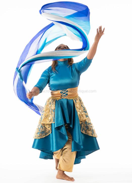 Mix Color Blue Silk Flower Praise and worship Dance Throw Streamer
