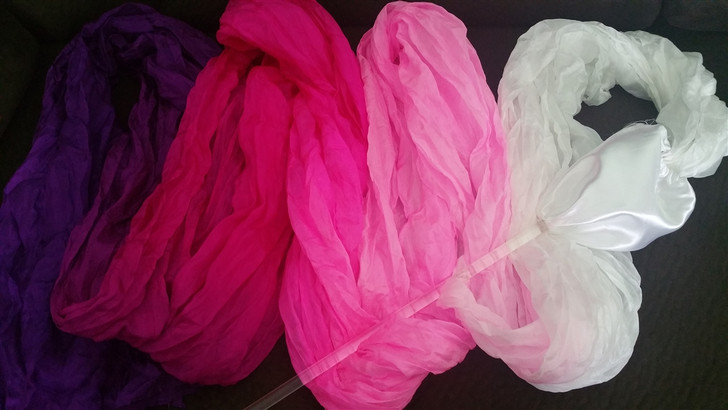 Mix color Pink Silk Flower Praise and worship Dance Throw Streamer