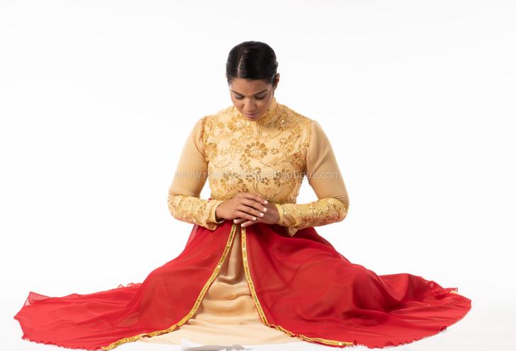 PRINCESS Collection Hi Waist red and gold Elegant chiffon Garment Dress