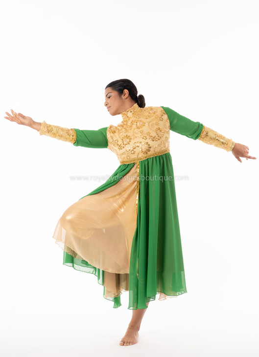 PRINCESS Collection Hi Waist Gold and Green Chiffon Elegant Garment Dress