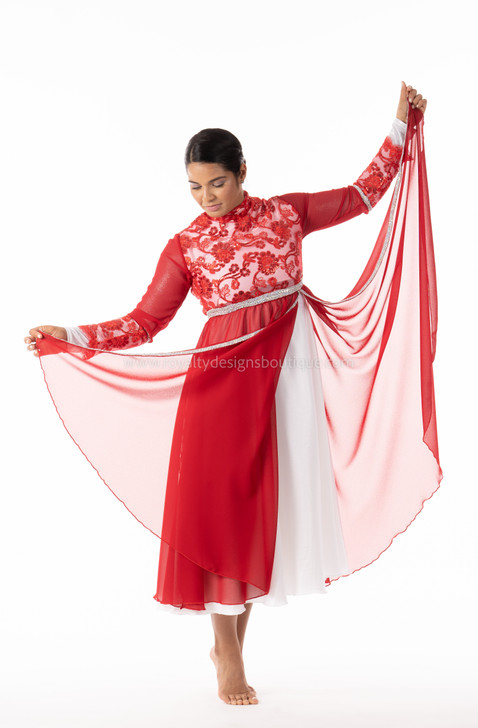 PRINCESS Collection Hi Waist Red and Pearl white Elegant Garment Dress