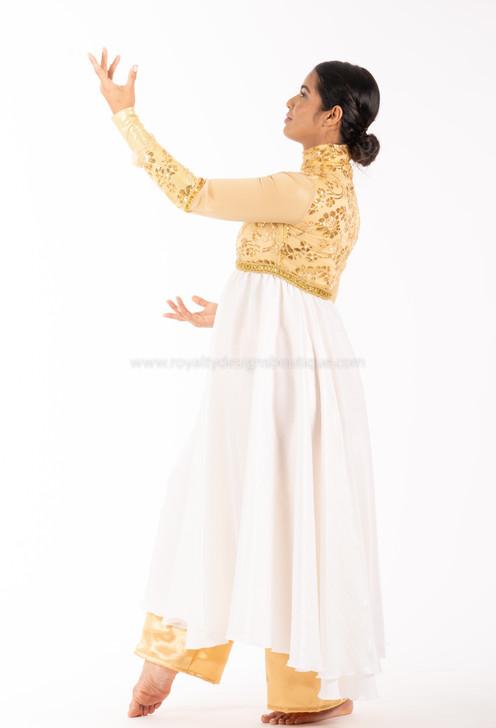 PRINCESS Collection  Hi Waist Gold and Pearl white Elegant Satin Garment Dress