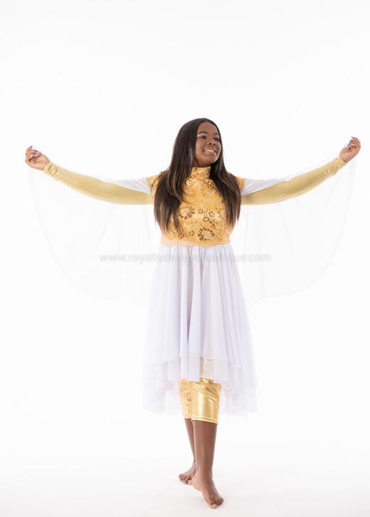 Gold and White Angel Wing elegant Dance Garment