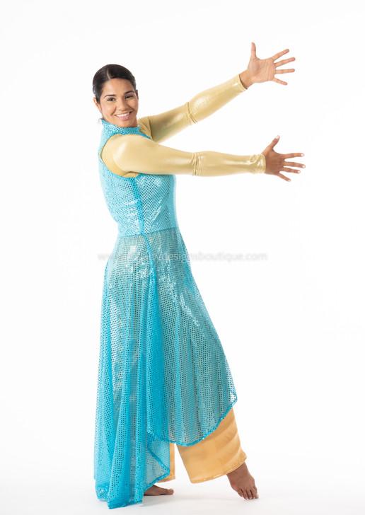Hi-lo Turquoise Sequin Tunic