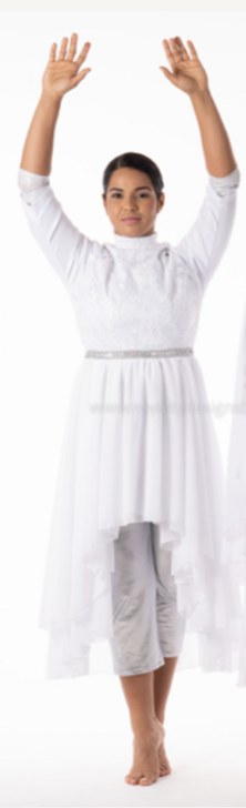 Bridal White Dress - Mid sleeve with Chiffon and Elegant Lace Top
