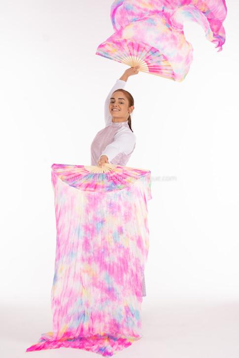 REVIVAL Tie Dye Pink and FANS - 1 Pair(Left+Right) Women Real Silk Praise Dance Fan Veil, Length 180cm Width 90cm
