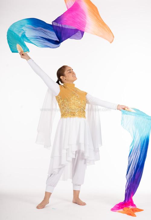MULTICOLOR blue, pink, orange, purple) FANS - 1 Pair(Left+Right) Women Real Silk Praise Dance Fan Veil, Length 180cm Width 90cm