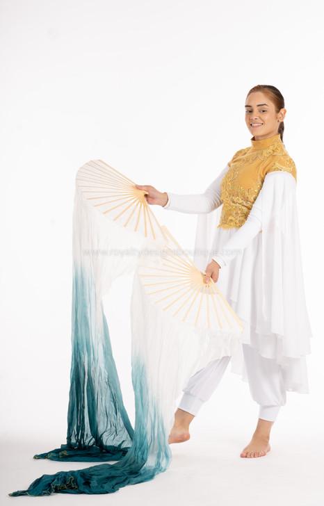 DEBORAH Tie Dye White and Teal FANS - 1 Pair(Left+Right) Women Real Silk Praise Dance Fan Veil, Length 180cm Width 90cm