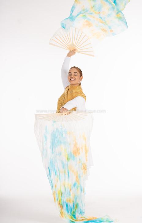 White, teal and Orange Tie Dye FANS - 1 Pair(Left+Right) Women Real Silk Praise Dance Fan Veil, Length 180cm Width 90cm