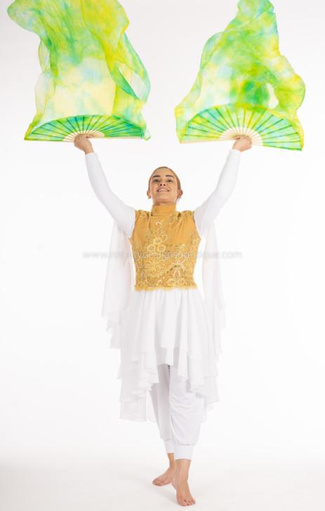 HEALING Green and Yellow Tie Dye FANS - 1 Pair(Left+Right) Women Real Silk Praise Dance Fan Veil, Length 180cm Width 90cm