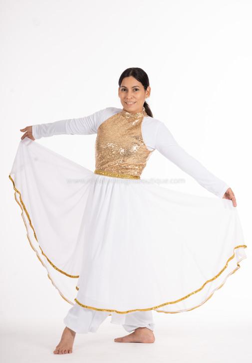 JOY White chiffon and Gold- sequin Dance Ephod