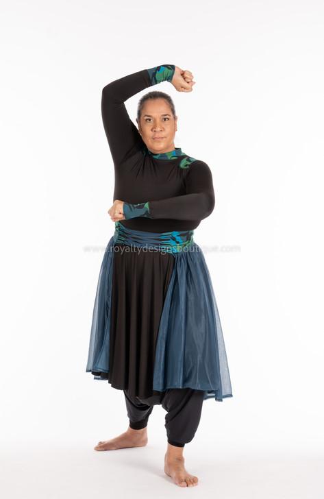 Mordechai SET (2 pcs) Warrior Collection - Black and teal Lycra Tunic and Skirt