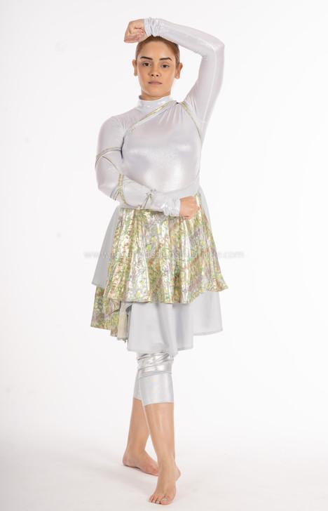ANA Green and silver Asymmetrical Wrap Around Lycra Skirt