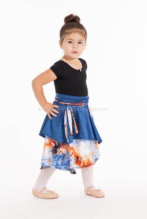 Raquel Kids Skirt Asymmetrical Wrap Around Lycra Skirt