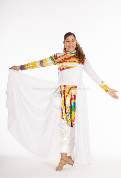 JUBILEE Unitard Multicolor and white with Long skirt