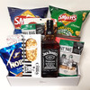 Jack Daniels 700ml with lots of party treats such as chips, cracker mix, brittle and a good selection of nuts