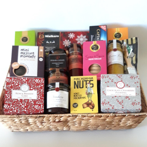 Christmas Gourmet Deluxe, packed with gourmet Christmas treats like Rum and Brandy Cake and Mince Pies