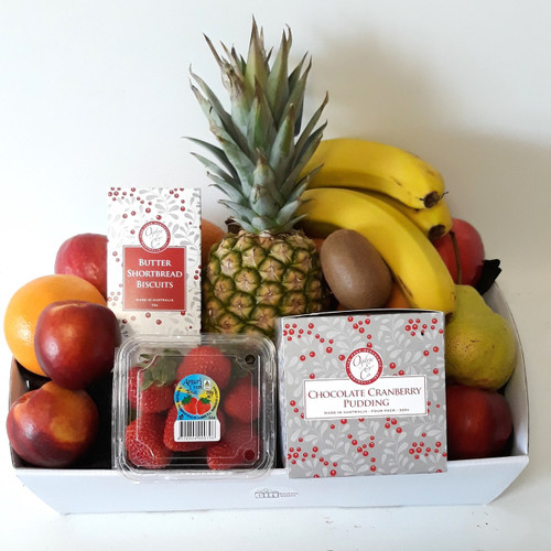 A Christmas fruit basket containing Chocolate Cranberry Pudding and Ogilvies Butter Shortbread