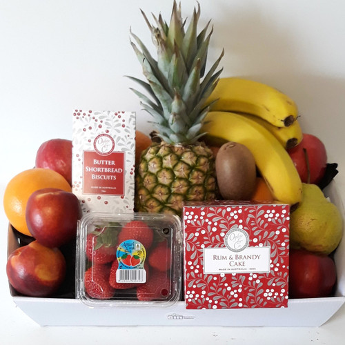 Ogilvies Rum and Brandy Cake, Butter Shortbread Biscuits and Fresh Fruit Hamper