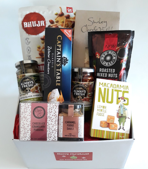 A perfect Christmas Gift Box for one, containing an individual Ogilvie & Co Chocolate and Cranberry Pudding Pack