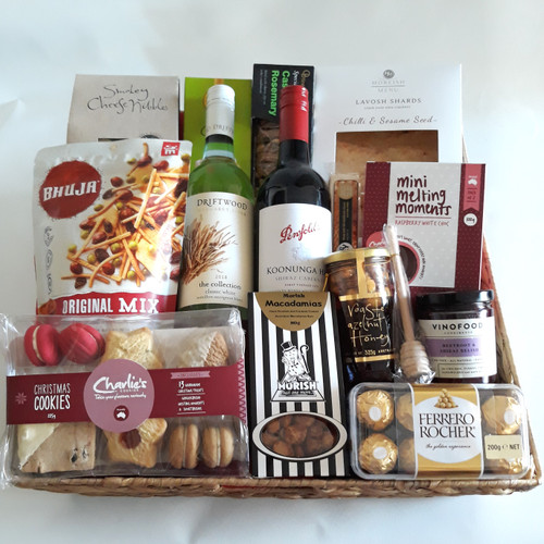 Deluxe Christmas Gourmet selection with a white and red wine
