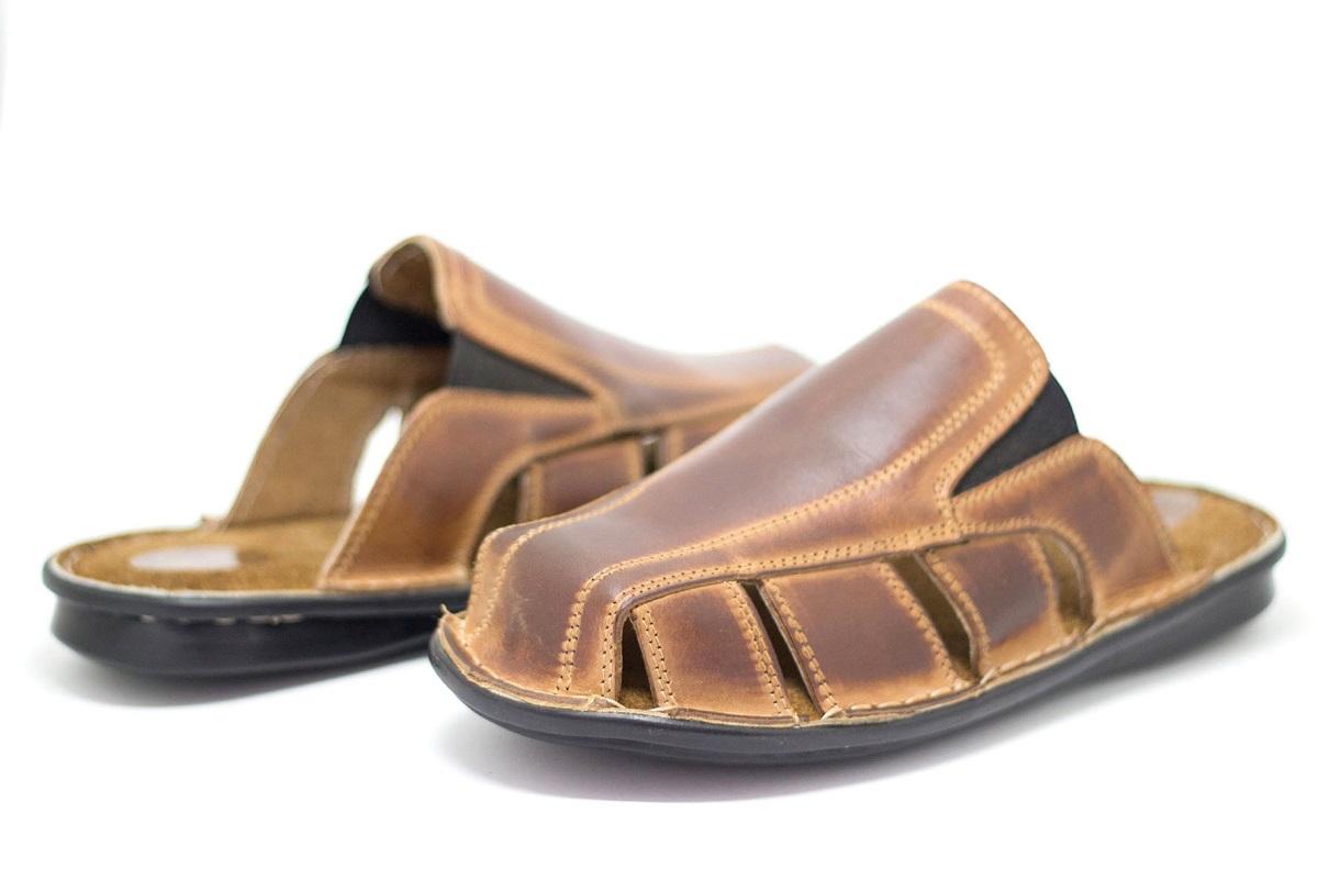 Sommerschuhe Sandalen für den Pantoletten Leder aus Leder