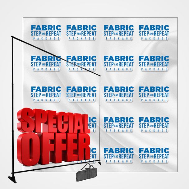 8FT x 8FT Fabric Step and Repeat Package (Wrinkle Resistance Fabric + Stand)