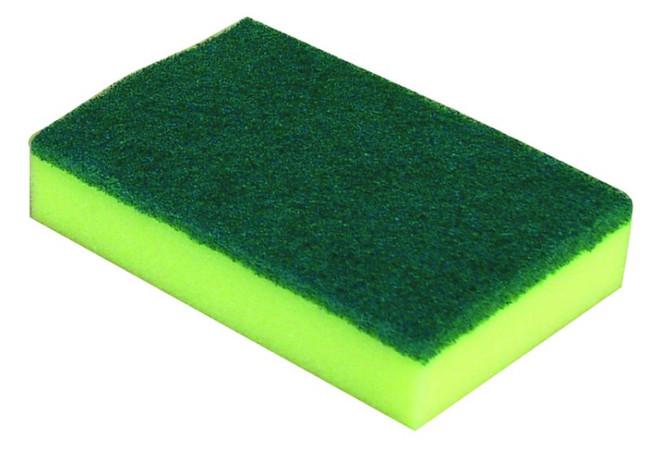 SPONGE SCOURER GREEN/YELLOW 150MM X 100MM