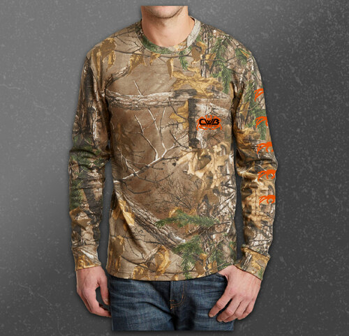 Captain Wild Bill signature CWB logo Camo design long sleeve shirt front.