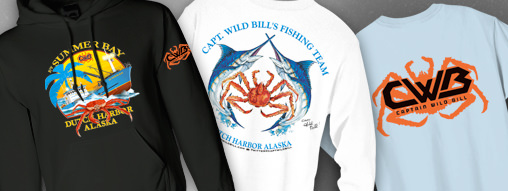 Capt. Wild Bill's Summer Bay hoodie in black, Steve Goione Original Art on a white long sleeve tee and Wild Bill's logo on a short sleeve sky blue tee.
