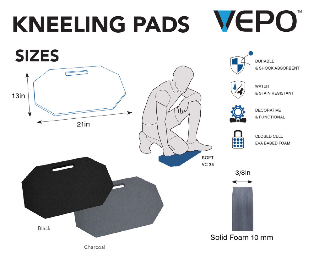 Our kneeling pads are made from durable closed cell EVA foam. Available in Charcoal or Black.