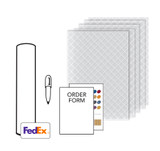 Kit Includes: Plastic tracing material, Material options sheet, Order form, Marker & Prepaid return shipping material.