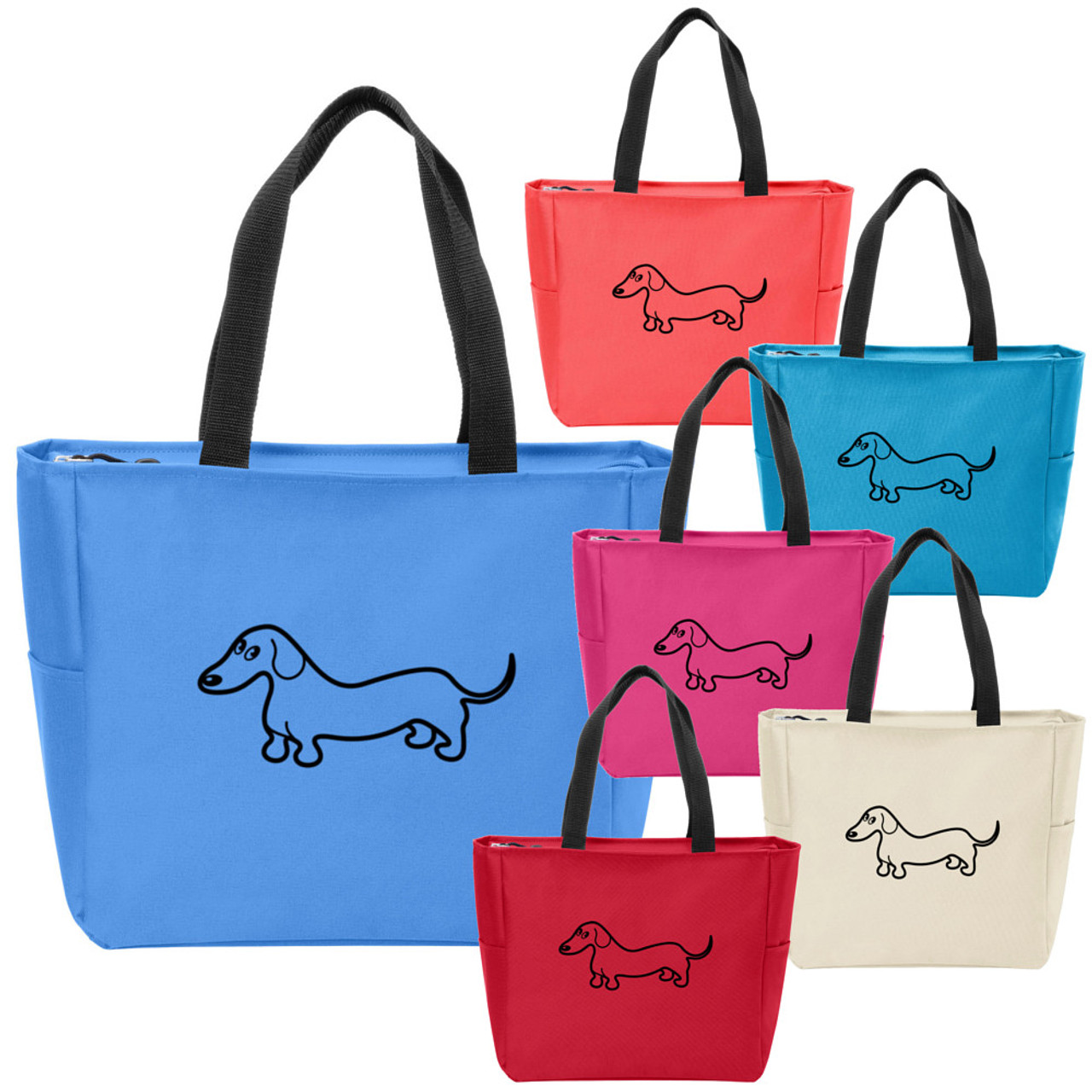 257543d0104 Essential Smooth Dachshund Zippered Tote Bag