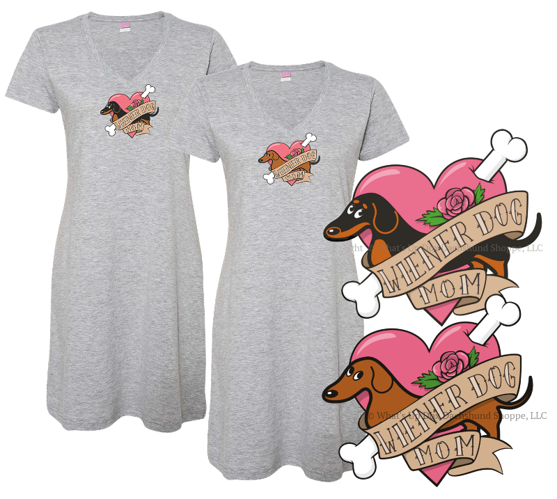 ce0b344699 Dachshund Wiener Dog Mom Tattoo Sleep Shirt