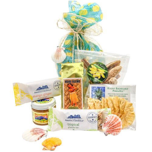 banana leaf gift bag with  mango ginger anahola granola bar, tropical anahola granola bar, maui coffee roasters maui blend, dried kauai sugarloaf pineapple, ua wai farm dried apple bananas, maui bees macadamia blossom honey