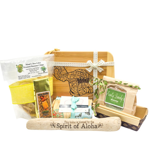 "maui's finest gifts mailer box with maui chopping board, maui dee-lites frosted banana chips, aunty sandy's banana bread mix, maui coffee roasters maui blend, hawaii kitchen towel, maui driftwood ""this house is blessed with the spirit of aloha"""