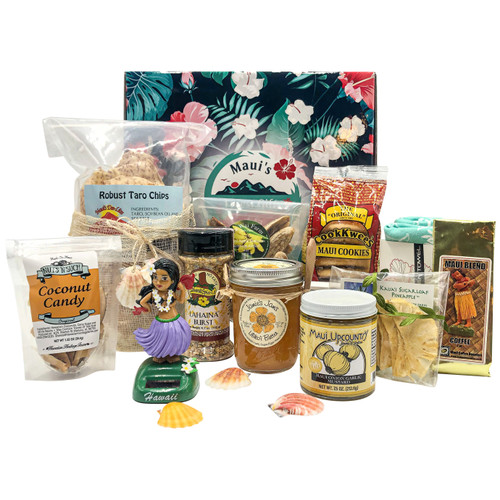 maui's finest gifts mailer box with maui upcountry jams & jellies maui onion mustard, hawaiian heritage farms coconut candy, solar-powered hula doll, maui coffee roasters maui blend, cook kwees macadamia nut shortbread cookies, jamie's jams lilikoi butter, ua wai farms dried apple bananas, lahaina spice company lahaina burst, maui dee-lites taro chips, souvenir hawaiian kitchen towel, dried kauai sugarloaf pineapple