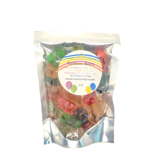 rainbow bears gummies for kids by maui candy company: various flavors such as cherry, pineapple, mango, strawberry, apple, lemon