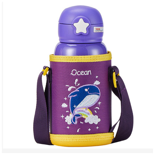 kids purple stainless steel thermos bottle with carrying bag and strap, embroidered with whale and rainbow
