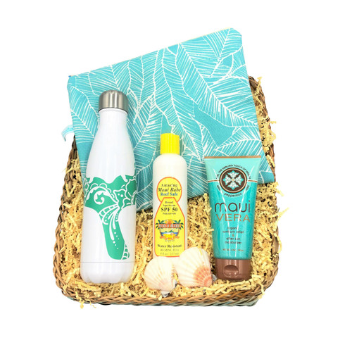 Beach babe gift basket with oneloa wet bag, whale tail hydro flask, maui babe reef safe spf 50 sunscreen, maui vera after sun moisturizer/ sunburn relief