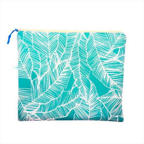 """11*9"""" turquoise with banana leaves wet bag by oneloa,- made on maui"""