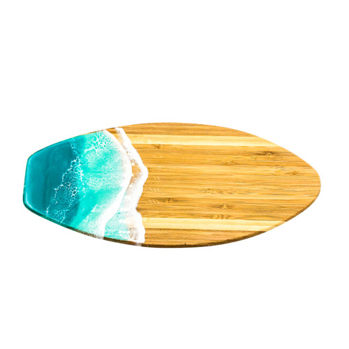 bamboo surfboard serving boards with resin art depicting ocean waves