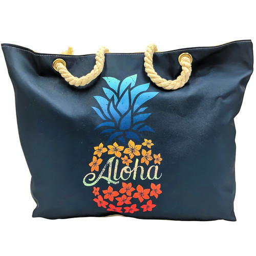 "front side image of large black canvas beach bag with image of multi-colored  pineapple ""aloha"""