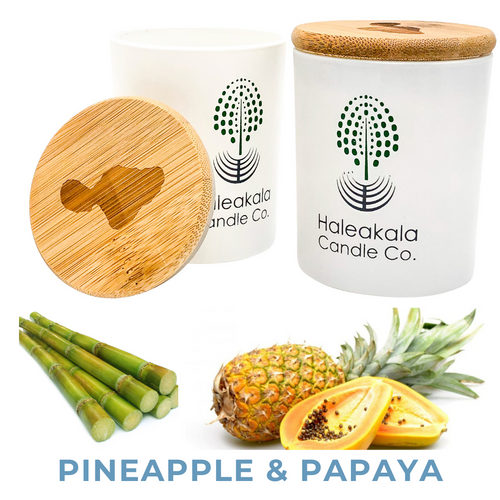 pineapple & papaya organic soy wax candle in glass jar with engraved bamboo lid