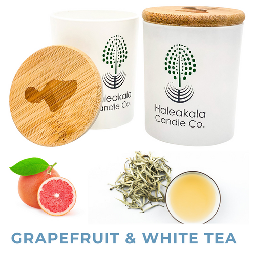 grapefruit & white tea organic soy wax candle in glass jar with engraved bamboo lid