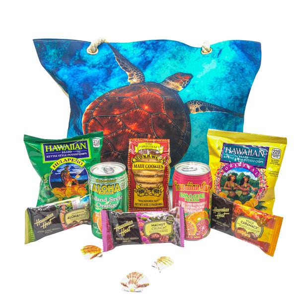 Gift Beach Bag with Hawaiian food such as Hawaiian brand chips, Hawaiian Host macadamia chocolates, Maui Cookwees shortbread cookies and Aloha Maid juices